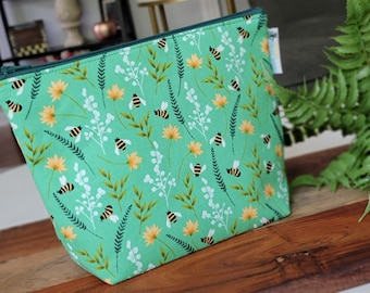 Bumblebees & Wildflowers - Small Clutch Knitting Crochet Project Bag, Sock Sack small zipper tote cosmetic bag yarn tote SD48