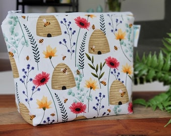Beehives & Wildflowers - Small Clutch Knitting Crochet Project Bag, Sock Sack small zipper tote cosmetic bag yarn tote SD47