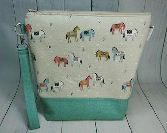 Painted Horses - Medium Knitting Project Bag, Medium Zippered Wedge Bag, Zipper Bag, Shawl Project Bag WM081