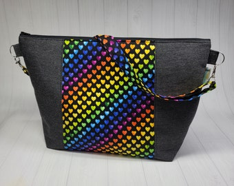 Gay Pride Rainbow Ombre Hearts Large Crossbody Zipper Knitting Project bag, shawl sweater or small blanket tote bag, cross body strap WL86