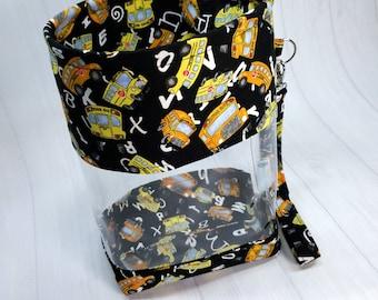 Clear Vinyl Drawstring Bag, Yello School Bus on Black, Small Clear View Knitting Project Bag, Sock Knitters Bag, Small bag CVS105
