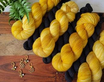 Honeycombs Gold Sock Yarn Set - Gold Tonal Hand Dyed Sock Yarn plus black mini skein    Fingering superwash merino nylon  SS10
