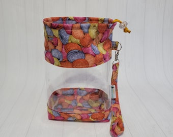 Knit n Purl Yarn Skeins Clear Vinyl Drawstring Bag, Small Clear View Knitting Project Bag, Sock Knitters Bag, Small bag CVS132
