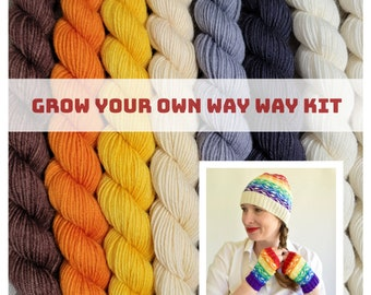Bear Pride - Grow Your Own Way Pride Hat Kit - LGBTQ Mini Set of Superwash Merino & Nylon fingering weight yarn - GYOWH-BP