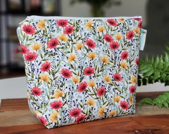 Summer Wildflowers - Small Clutch Knitting Crochet Project Bag, Sock Sack small zipper tote cosmetic bag yarn tote SD46
