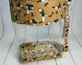 Saints Who Dat Fans! Medium Clear Knitting Project Bag - Drawstring Vinyl Bag, window project bag CVM027