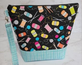 Knitting Notions Theme Medium Knitting Project Bag, Zipper Yarn Bag, Zippered project tote, yarn caddy, knit bag tote Shawl WM112