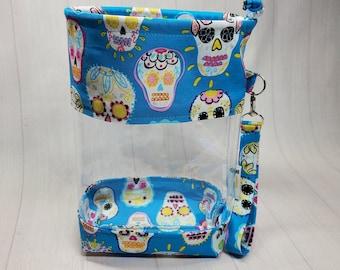 Sugar Skulls on Aqua Fabric - Clear Vinyl Drawstring Bag, Small Clear View Knitting Project Bag, Sock Knitters Bag, Small bag CVS128