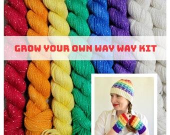 Sparkly Gay Pride - Grow Your Own Way Pride Hat Kit - Rainbow Mini Set of Sparkly Sock SW Merino/Nylon/Lurex fingering yarn - GYOWH-SP