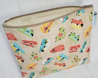 Zipper Notions Bag Pouch, Camper Toss on Biege RVs glamping Knitting Notions Bag, Crochet bag   NP081