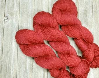 Red Apple DK Hand-Dyed Yarn   tonal semisolid Hand dyed yarn   DK Light Worsted Yarn   75/25 superwash merino nylon yarn Y004
