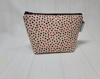 Brown/Red Poka Dots Small Zippered Notions Pouch, Mini Wedge Bag, Knitting Notions Pouch, Craft Pouch NP101