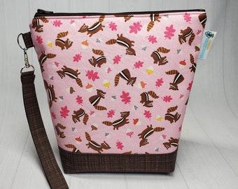 Chipmunks & Acorns Small Knitting Crochet Project Bag, Sock Sack small zipper tote cosmetic bag yarn tote SD27