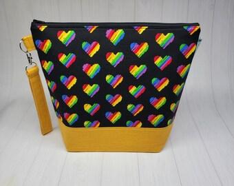 Pride Rainbow Hearts - Medium Knitting Crochet Needlepoint Project Bag, Support LGBTQ, zipper knitting bag  WM116