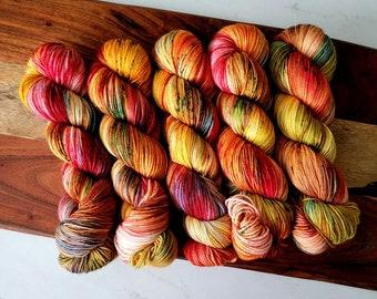 Leaf Peepers II Fall Colorway Deluxe Yarn | Bright Variegated Hand Dyed Yarn Fingering weight | 100% Superwash extrafine merino wool Y016