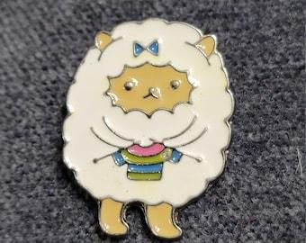 Fluffy Knitting Sheep - Hard Enamel Pin, Sheep Pin, Crafters Knitters Crocheters Gift, Project Bag Pin EP10