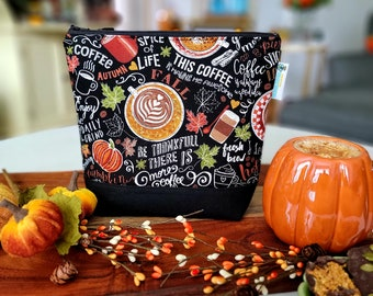 Pumpkin Spice Latte Coffee Time - Small Clutch Style Knitting Crochet Project Bag, Sock Sack small zipper tote cosmetic bag yarn tote SD54