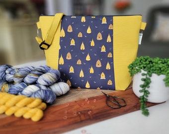 Beehive Blues - Dear Stella fabric Large Crossbody style Zipper Knitting Project bag, shawl sweater blanket tote bag, crossbody strap WL87