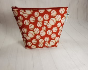 Xtra-Large Notions Pouch, Baseballs on Red,  Notions Pouch, XL Zippered Notion Bag, Knitting Accessories Pouch NPXL05