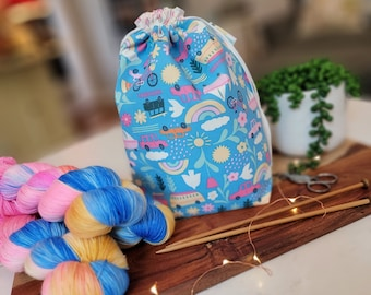 Summer Luvin' (Dear Stella Fabric) Drawstring Project Bag - Knitting Crochet Needlepoint craft bag tote - cotton DS01