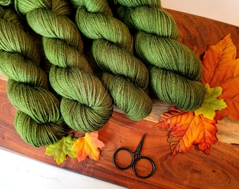 Mossy Forest Green Fall Colorway DK Hand-Dyed Yarn | SemiSolid Tonal hand dyed yarn Light Worsted Yarn | 75/25 superwash merino nylon Y004T