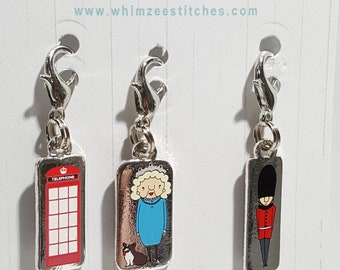 London Progress Keepers - set of 3 - London phone booth, Queen Mum, British Bobby Stitch Marker - 16mm silver lobster clasp finding - PK0052