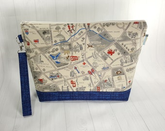 London Map Large Zipper Knitting Project Bag, shawl sweater size zipper bag WL0027
