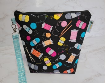 Knitting Notions Theme Small Knitting Crochet Project Bag, Zippered clutch, small zipper tote cosmetic bag yarn tote SD36