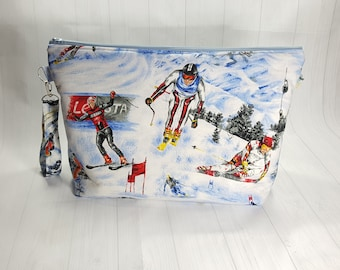 Downhill Skiers Ski Large Zipper Knitting Project Bag, shawl sweater size zipper bag WL048