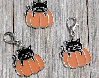 Black Cat in Pumpkin Halloween Progress Keeper with Lobster Clasp finding (package of 1)  Knitting Stitch Marker, Progress Keeper PK101