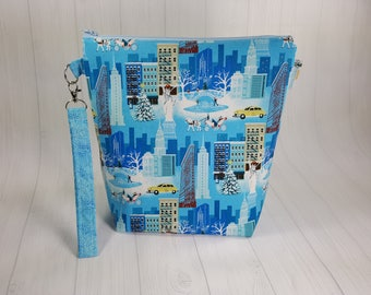Medium Knitting Project Bag, Winter in NYC, New York City, Zippered Wedge Bag, Zipper Bag, Shawl Project Bag WM0042