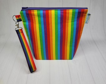 Gay Pride Rainbow Stripes - Small Project Bag - Support LGBTQ+ Knitting Project Bag, Zipper travel bag clutch - crochet bag yarn tote SD43