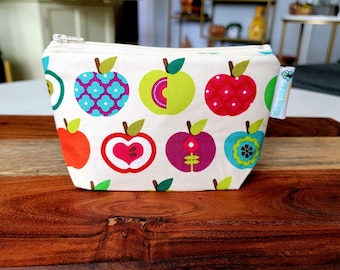 Bright Apples - Small Zippered Notions Pouch, Mini Wedge Bag, Knitting Notions Pouch, Craft Pouch NP105