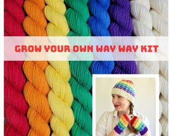 Gay Pride - Grow Your Own Way Pride Hat Kit - Rainbow Mini Set of Standard Sock SW Merino/Nylon fingering yarn (22 grams each) - GYOWH-PR