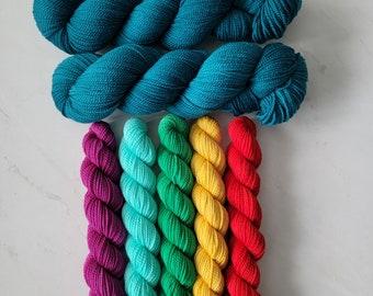 Pixel Pop Shawl Kit - Yarn & Pattern to knit your own shawl (Pattern by Lisa K. Ross)  Deluxe High-Twist Fingering Yarn PPK-YOP