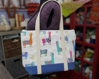 Colorful Llamas Large Knitting Tote Bag Knitting Project Tote Bag, zipper top, interior pockets, sewn in handles WLT02