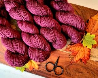 Claret (Eggplant) Fall Colorway DK Hand-Dyed Yarn | SemiSolid Tonal Hand dyed yarn | Light Worsted Yarn | 75/25 superwash merino nylon Y004T
