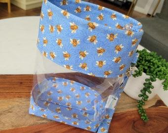 Buzzing Bees Clear Vinyl Drawstring Bag, Small Clear View Knitting Project Bag, Sock Knitters Bag, Small bag CVS135