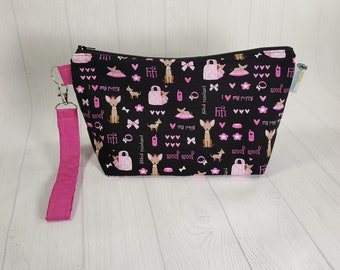Princess Puppy Chihuahua Chiwawa, Knitting Project Bag, Small Zippered Wedge Bag, Zipper Knitting Bag, Cosmetic Bag WS0082