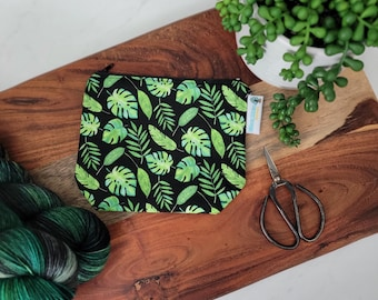 Tropical Monstera Leaves - Small Zippered Notions Pouch, Mini Wedge Bag, Knitting Notions Pouch, Craft Pouch NP104