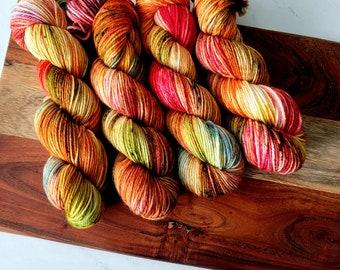 Leaf Peepers II Fall Colorway DK Hand-Dyed Yarn | Bright Variegated Hand dyed yarn | DK Light Worsted | 75/25 superwash merino nylon Y004V