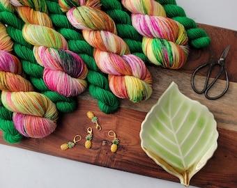 Rainbow Pineapples Sock Set - Variegated Colorful  Hand Dyed Sock Yarn plus black mini skein  | Fingering superwash merino nylon  SS12