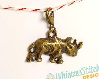 Rhino (bronze) Progress Keeper Marker Stitch Marker with lobster clasp PK0020
