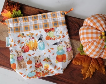 Pumpkin Puppies Dogs - Small Drawstring Project Bag - Knitting Crochet Needlepoint craft bag tote - cotton SDS01