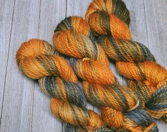 Mountain Sunset - Orange & Blue/Gray - Bulky Hand Dyed Yarn - 100% superwash merino yarn Y011