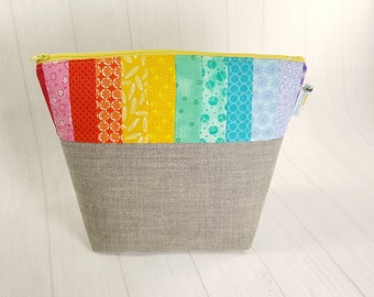 Rainbow Pride Medium Knitting Project Bag, Zippered Wedge Bag, Zipper Bag, Shawl Project Bag WM0052