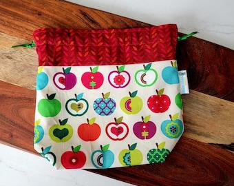 Bright Apples - Small Drawstring Project Bag - Knitting Crochet Needlepoint craft bag SDS03