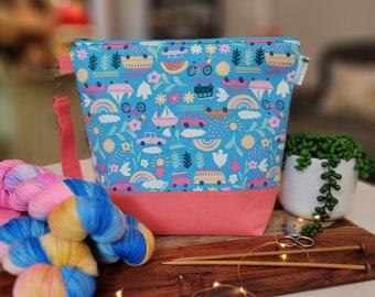 Summer Luvin'- Dear Stella fabric Medium Knitting Project Bag, Zipper Yarn Bag, Zippered project tote, yarn caddy, knit bag tote WM118