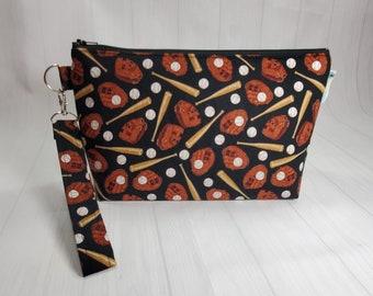 Play Ball Baseball Bats & Gloves, Knitting Project Bag Small Zippered Wedge Bag, Cosmetic Bag travel bag WS0098