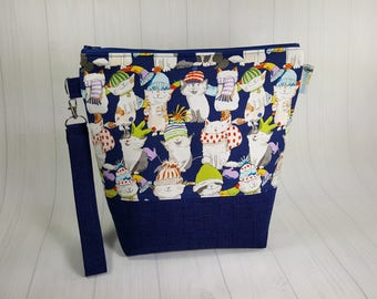 Medium Knitting Project Bag, Knittens - cats wearing knitted hats & scarves, Medium Zippered Wedge Bag, Zipper Bag, Shawl Project Bag WM0043